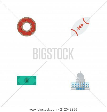 Flat Icons Football, Doughnut, Greenback And Other Vector Elements
