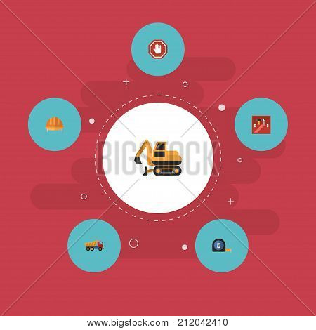 Flat Icons Roll Meter, Hardhat, Van And Other Vector Elements