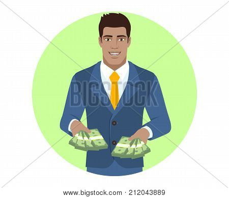 Businessman with cash money. Portrait of Black Business Man in a flat style. Vector illustration.