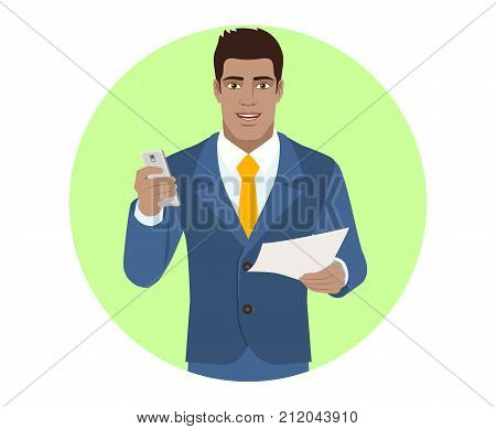 Businessman with mobile and paper. Portrait of Black Business Man in a flat style. Vector illustration.