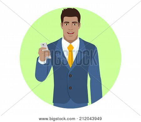 Businessman with mobile phone and briefcase. Portrait of Black Business Man in a flat style. Vector illustration.