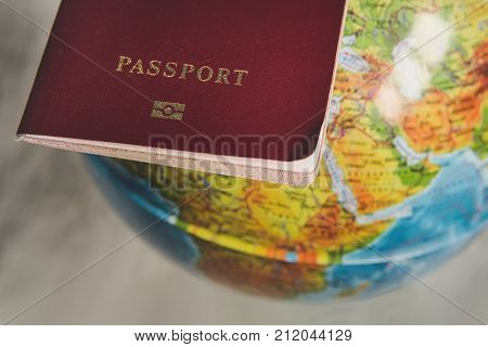 Passport With World Map, Journey Concept