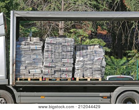 Newspapers at Pallets in Delivery Truck Shipping