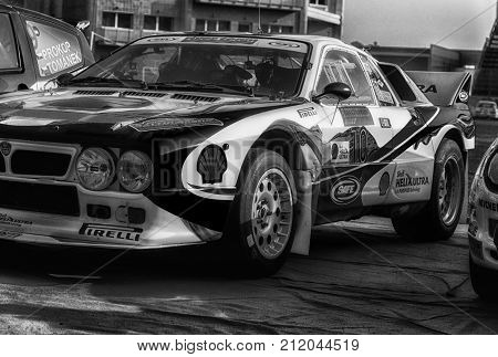 SAN MARINO, SAN MARINO - OTT 21 -2017 : LANCIA RALLY 037 old racing car rally THE LEGEND 2017 the famous SAN MARINO historical race