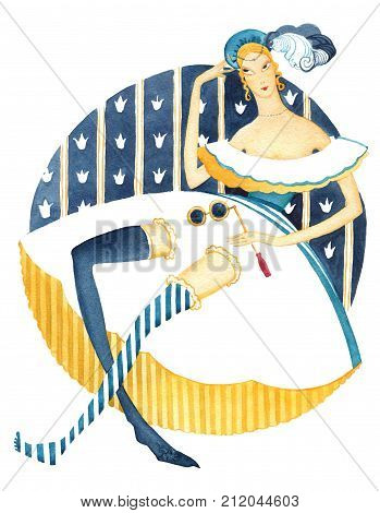 Lady in history dress with lorgnette sitting on royal pattern background