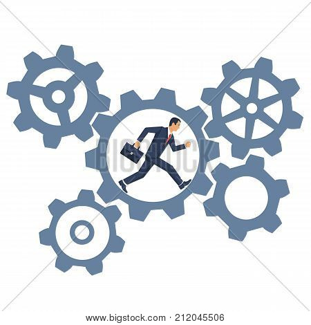 Hard work concept. Businessman running inside gear mechanism. Business mechanism system. Vector illustration flat design. Isolated on white background. Rotate cogwheel.