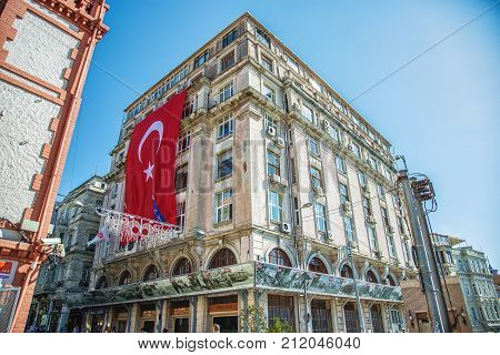 ISTANBUL, TURKEY: View of Tunel, Asmalimescit area of Istiklal avenue in Beyoglu district in Istanbul. Local people and tourists walk and explore the area on October 6, 2017
