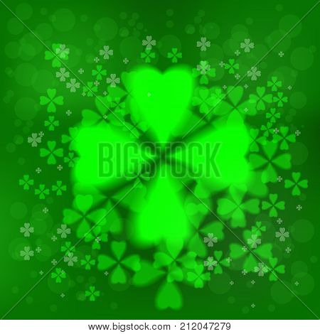 Four- leaf clover - Irish shamrock St Patrick s Day background. Green glass clover on green background. Stylish abstract St. Patrick s day background with leaf clover.
