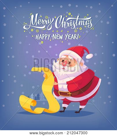 Cute cartoon Santa Claus reading gift list Merry Christmas vector illustration