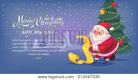 Cute cartoon Santa Claus reading gift list Merry Christmas vector illustration Greeting card poster horizontal banner