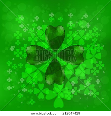 Four- leaf clover - Irish shamrock St Patrick's Day background. Green glass clover on green background.Stylish abstract St. Patrick's day background with leaf clover.