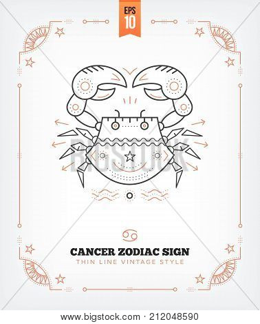 Vintage thin line Cancer zodiac sign label. Retro vector astrological symbol, mystic, sacred geometry element, emblem, logo. Stroke outline illustration. Isolated on white background.