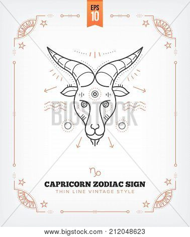 Vintage thin line Capricorn zodiac sign label. Retro vector astrological symbol, mystic, sacred geometry element, emblem, logo. Stroke outline illustration. Isolated on white background.