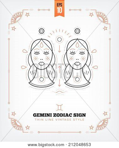 Vintage thin line Gemini zodiac sign label. Retro vector astrological symbol, mystic, sacred geometry element, emblem, logo. Stroke outline illustration. Isolated on white background.