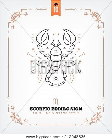 Vintage thin line Scorpio zodiac sign label. Retro vector astrological symbol, mystic, sacred geometry element, emblem, logo. Stroke outline illustration. Isolated on white background.