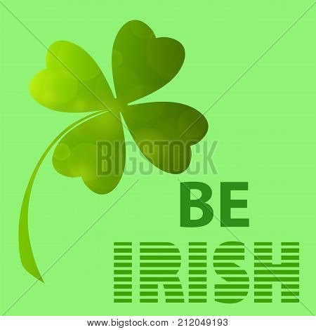 Four- leaf clover - Irish shamrock St Patrick's Day symbol. Green clover labels. St. Patrick's day clover icon on green background.