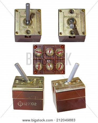 iron toggles switch for power on off electric device isolated in white background