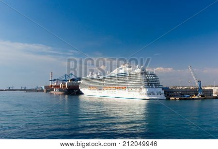 CIVITAVECCHIA, ITALY - APRIL 4, 2017: Princess Cruise`s Majestic Princess docked in Civitavecchia harbour after sailing on her maiden voyage.
