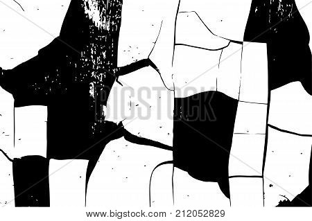Distressed overlay texture of cracked concrete stone or asphalt cracks in the paint. Vintage black and white grunge texture. Cracked paint. Abstract halftone vector illustration