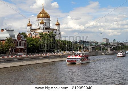 Moscow Russia - July 20 2017: Рleasure boats sails along the Moscow river.