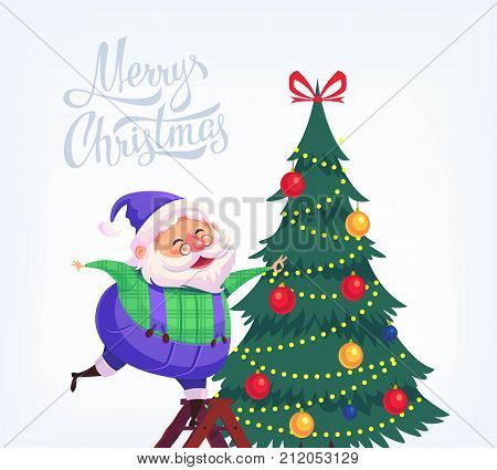 Cute cartoon blue suit Santa Claus decorating Christmas tree Merry Christmas vector illustration Greeting card poster