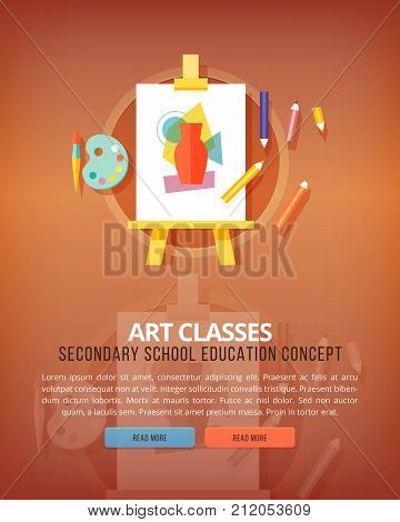 Art classes. Visual art gallery. Education and science vertical layout concepts. Flat modern style.