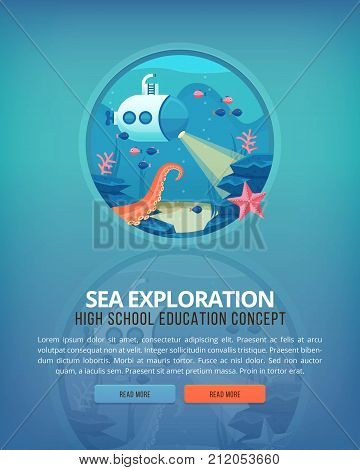 Education and science concept illustrations. Oceanography and sea exploration. Science of life and origin of species. Flat vector design banner.