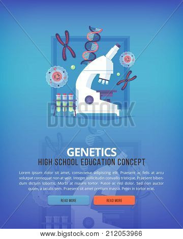 Education and science concept illustrations. Genetics. Science of life and origin of species. Flat vector design banner.