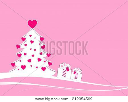 White christmas tree with deep-pink hearts for female teenager target. Abstract xmas tree in a minimal landscape with pink background and two gift boxes