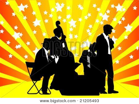 Vector drawing orchestra music on color background