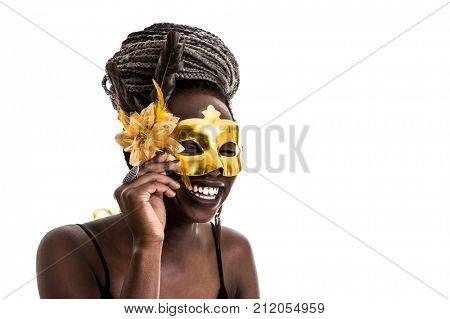 Afro Brazilian wearing carnival costume