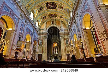 LISBON, PORTUGAL - October 23, 2017: Church of St Nicholas (Sao Nicolau) dated from the early thirteen century is a beautiful and calm place right in the historical center of Lisbon Portugal