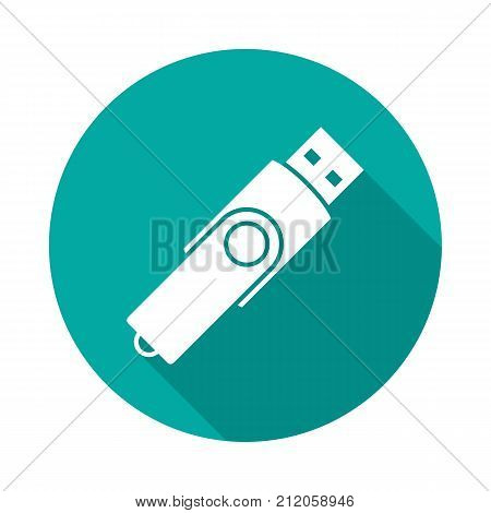 USB flash drive circle icon with long shadow. Flat design style. USB flash drive simple silhouette. Modern minimalist round icon in stylish colors. Web site page and mobile app design vector element.