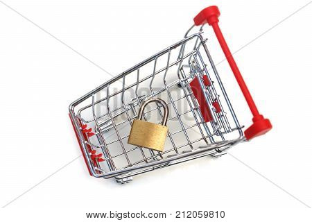 A trolley with a padlock/ Security of online shopping concept