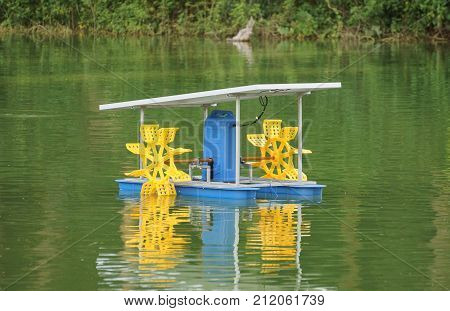 A Paddle wheel aerator using solar energy