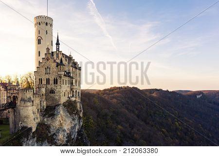 Schloss Lichtenstein Castle Germany Baden-wuerttemberg Swabian Alb Mountain Castle Fairy Tale Landsc