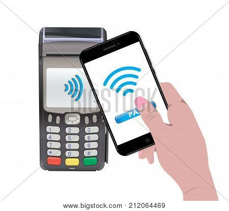 POS Terminal with hand holding a smartphone and online payment. Contactless payment. Near-field communication protocol. Vector Icon. Wifi Mobile Pay. Wireless bank mobile NFC Credit Card payments