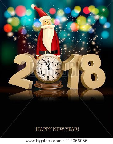 Happy New Year background with 2018 a clock and Santa Claus. Vector.