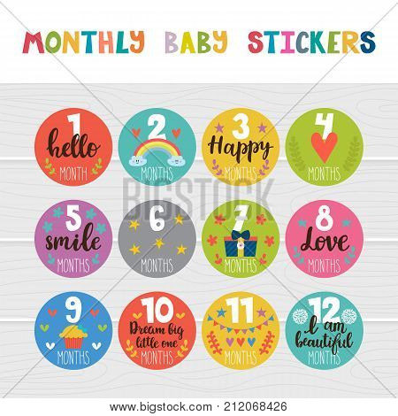 Monthly Baby Stickers For Little Girls And Boys. Month By Month Growth Stickers For Clothing. Great