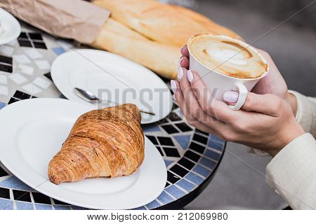 French Breakfast Concept. Coffee With Croissant.