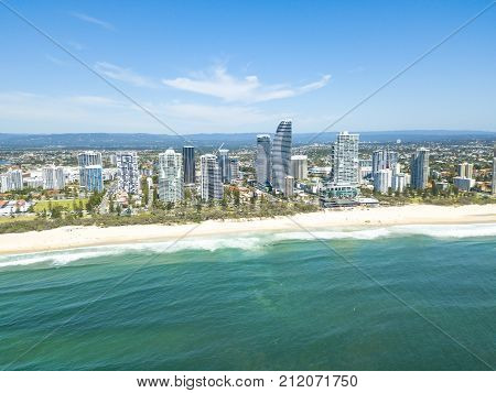An aerial view of Broadbeach on the Gold Coast in Queensland, Australia