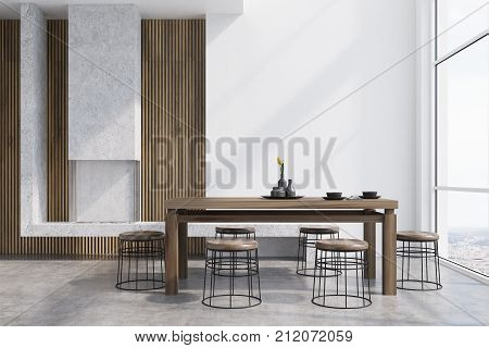 White Dining Room Interior, Fireplace