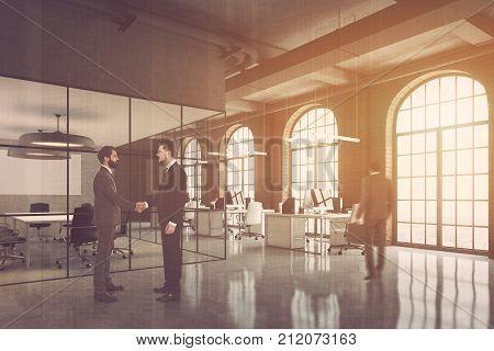 Brick Office, Arch Windows Corner, People