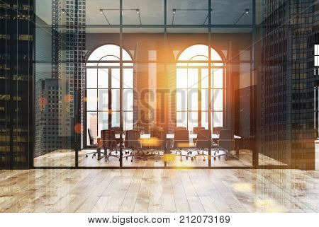 Black Brick And Glass Office, Meeting Room Toned