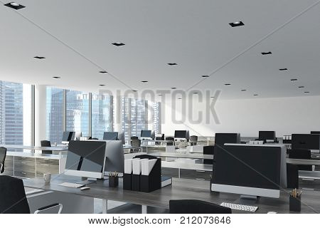White Ceiling Open Space Office, Close Up