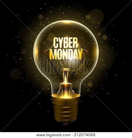 Realistic lamp with the inscription of cyber monday instead of the filament of incandescence, isolated on a dark background, vector illustration