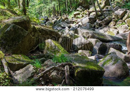 Big boulders plated by green moss on river banks. River valley covered by big stones.