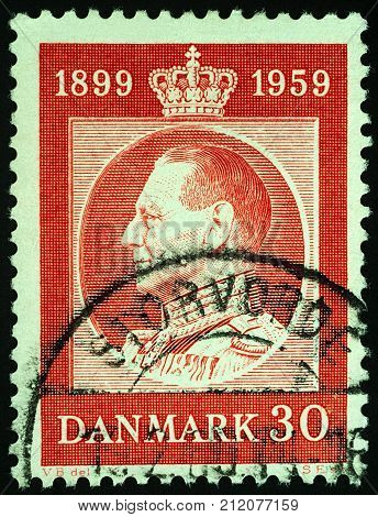 Moscow Russia - November 03 2017: A stamp printed in Denmark shows Danish King Frederick IX (1899-1972) series