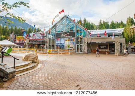 Whistler August 2015 This is the station of the Whistler gondola that connect the Whistler Peak to the Blackcomb Peak. A lot of sightseers skiers and snowboarders use it in this period to enjoy the wonderful panorama.