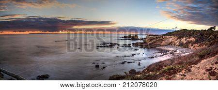 Sunset over Crystal Cove State Park Beach in Fall near Newport Beach California
